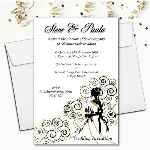 10 Personalised Bride Wedding Invitations Day/Evening N24